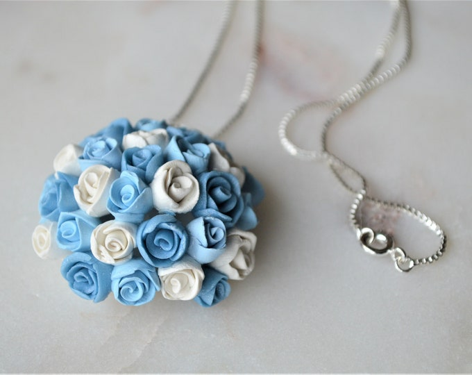 Bridal jewellery, Something blue gift, Wedding jewellery,Gift for her,Handmade silver necklace,Handmade silver jewellery, Gift for florist,