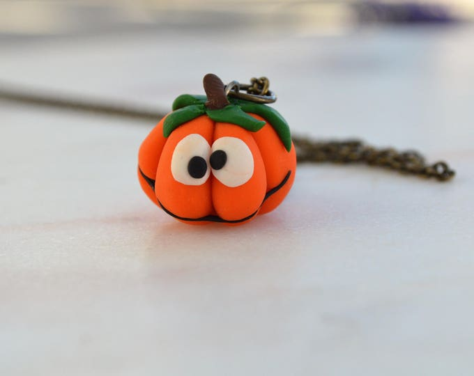 Special fall collection : Funny original pumpkin handmade necklace