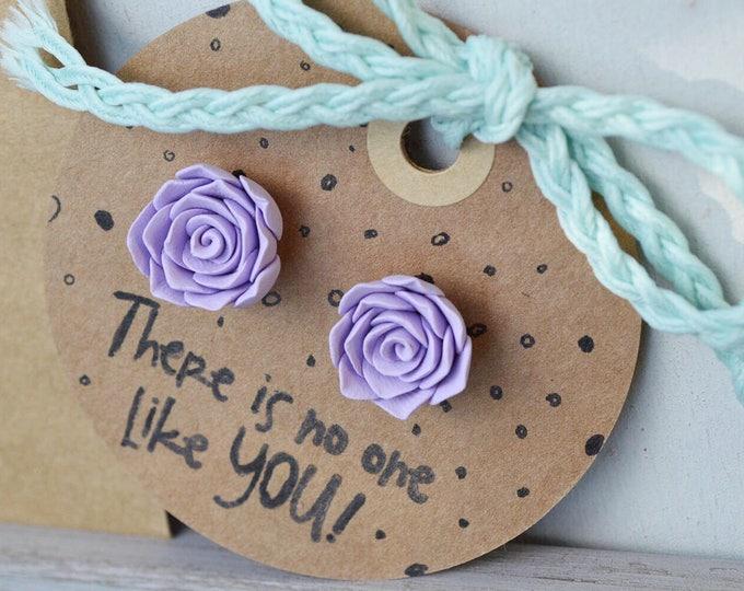 Romantic handmade rose earrings,  I love you gift, Bridal shower, Original gift for wife, Spring jewelry, Gift for Florist, Gardener gift
