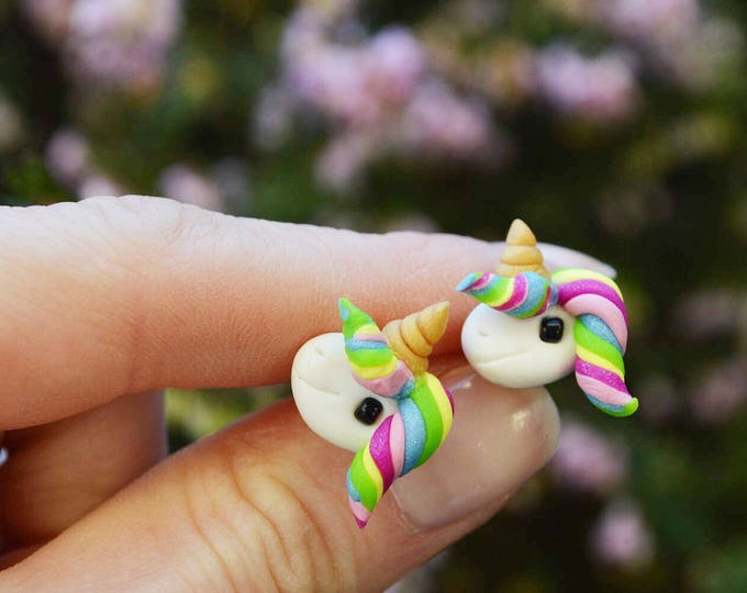 Handmade good luck earrings, cute unicorn jewelry, original handmade gift, Bday gift for daughter, handmade unicorn, polymer clay jewellery