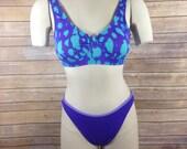 Vintage Surfside high cut bikini - Women 39 s size Medium - 1980s 1990s swimsuit bathing suit two-piece