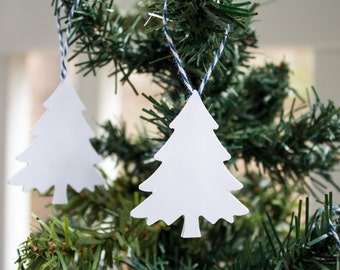 Christmas Tree Ornament (12ct), Paper Tree Ornament, White Christmas Ornament, Card Stock Ornament, Holiday Ornament, Tree Ornament