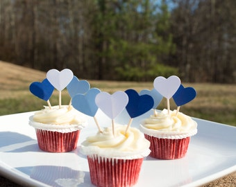Small Heart Cupcake Toppers (12ct), Valentines Day Cupcake Toppers, Blue & White Cupcake toppers, Paper Heart Cupcake Toppers