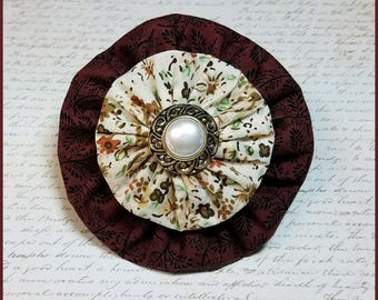 Yo-Yo Wine and Floral Vintage Style Hair Bow / YoYo Flower / Clip / Yo Yo Fabric & Button