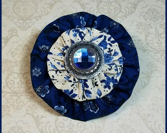 Yo-Yo Blue and Floral Hair Bow / YoYo Flower / Clip / Yo Yo Fabric & Button
