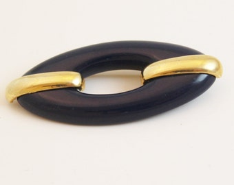 Vintage Blue and Gold Tone Brooch Nautical, Navy Blue - B53