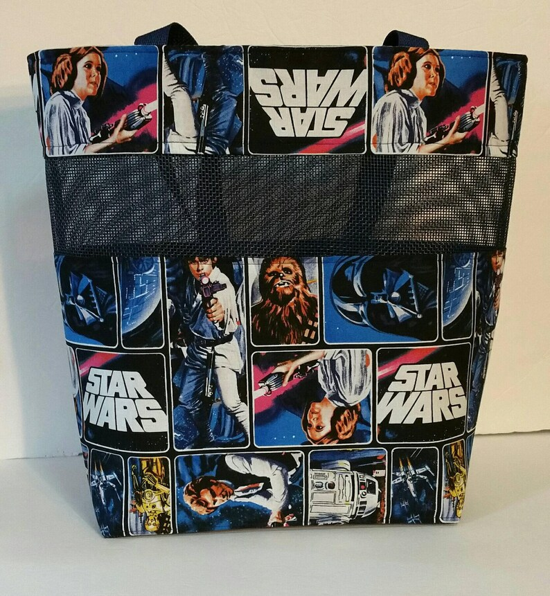 Large Handmade Tote Bag Star Wars Darth Vadar Hans Solo C-3PO R2-D2 Chewbacca Princess Leia Luke Skywalker Obi-Wan Kenobi Rey Kylo Ren BB-8