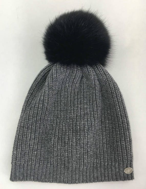 Hat. Italian Cashmere Wool Hat With Real Fur Pom Pom. Fur pom  74c18e4dad6