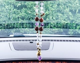 Car Crystal Om Charm Yoga Gift Gemstone Car Charm Om Car Charm Tassel Mala Mala Beads Tassel Car Charm Car Accessories Car Charm