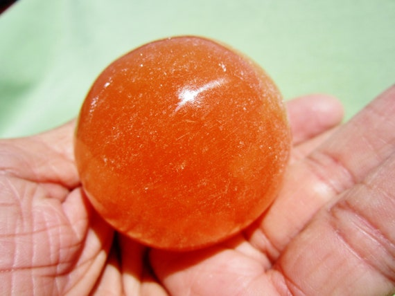Orange SELENITE SPHERE with Acrylic Stand  Polished Morocco 148g / 5cm