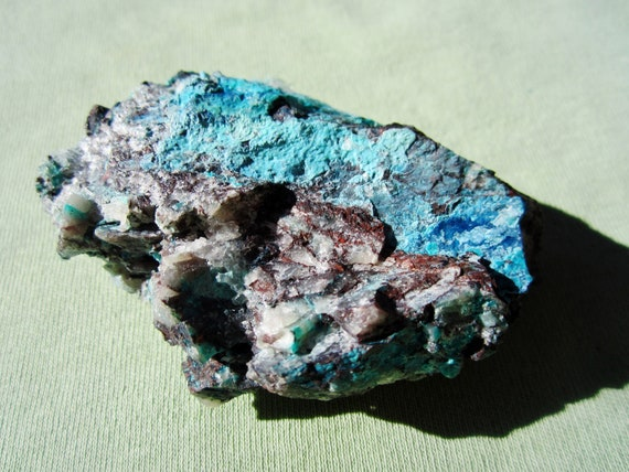 SHATTUCKITE, QUARTZ and CHRYSOCOLLA Mixed Minerals Sonora Mexico 66g