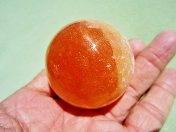 Orange SELENITE SPHERE with Acrylic Stand  Polished Morocco 155g / 5cm