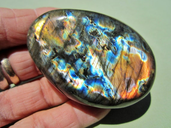 "LABRADORITE Polished Palm Stone Touch Worry Madagascar 100g / 2 1/2"" inch"