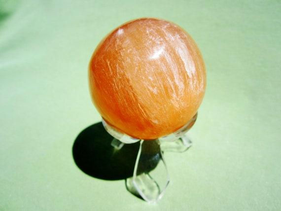 Orange SELENITE SPHERE with Acrylic Stand Polished Morocco 170g / 5cm
