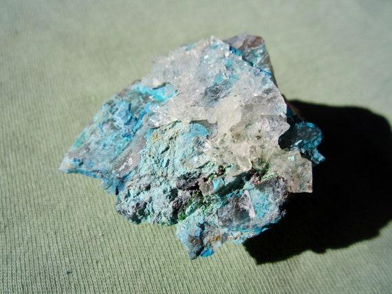 SHATTUCKITE, QUARTZ and CHRYSOCOLLA Mixed Minerals Sonora Mexico 35g