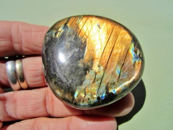 "LABRADORITE Polished Palm Stone Touch Worry Madagascar 89g / 2 1/4"" inch"