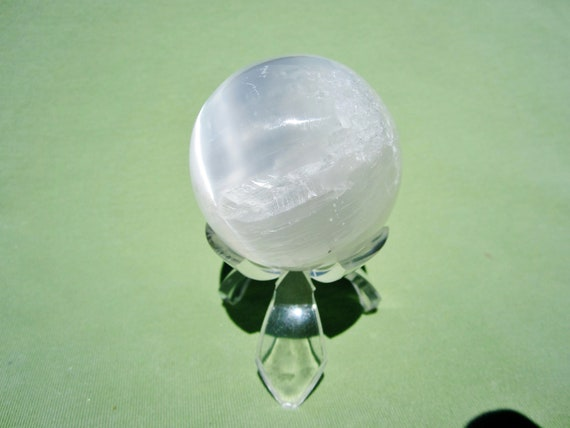 SELENITE SPHERE with Acrylic Stand White Polished Morocco 159g / 5cm
