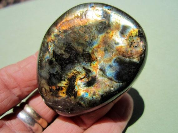 "LABRADORITE Polished Palm Stone Touch Worry Madagascar 96g / 2 1/2"" inch"
