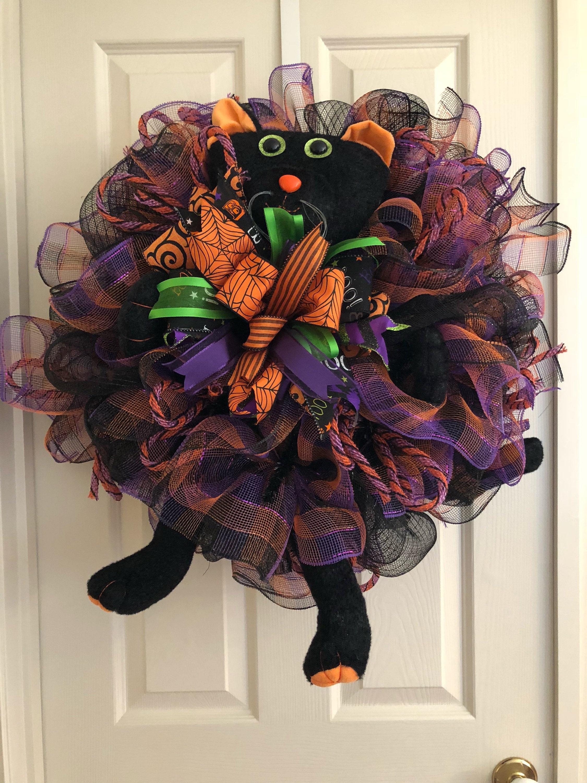 Halloween Wreathblack Cat Wreathdoor Wreath Cat Wreath Etsy