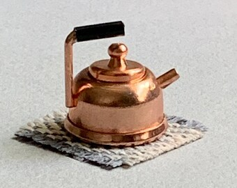 Dollhouse Teapot, Copper Dollhouse Kettle, Miniature Teapot, 1:12 Scale, Doll House Tea