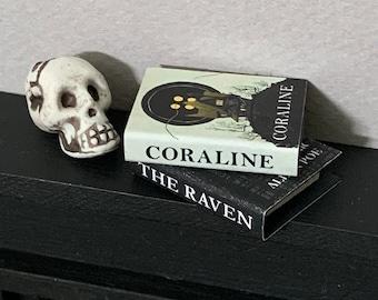 Two Dollhouse Halloween Books, Handmade Miniature Books, Dollhouse Books, Dollhouse Accessories, Modern Dollhouse, The Raven, Coraline