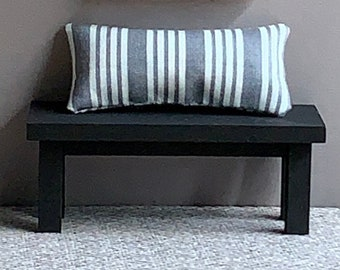 Dollhouse Bench, Doll House Furniture, Handmade Dollhouse Bench and Pillow