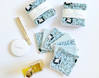 7 reusable makeup pads, blue, black and white panda