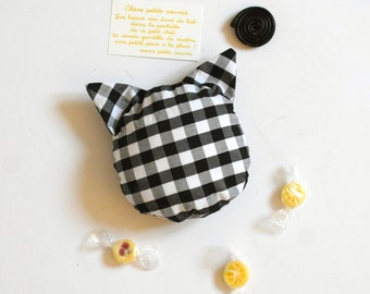 Soft tooth pillow, tooth fairy, black and white gingham