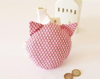 Coussin pour la petite souris, rose motifs ronds graphiques, le chat de la petite souris, petite souris, chat, cadeau enfant, rose, fluo