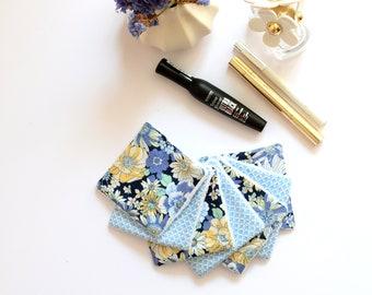 7 light blue reusable make up pads