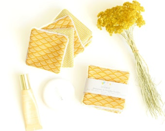 7 yellow reusable washable wipes