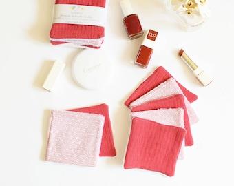 7 reusable make up pads, pink gauze, really soft