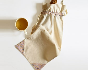 Reusable bread bag beige and pink