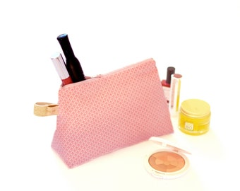 Stand up zippered pouch pink with mini palm