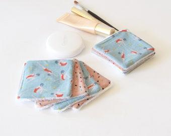 Lingettes démaquillantes graphiques motifs baigneuses, bleu, lingettes lavables, rose, zéro déchet, lingettes, carré démaquillant