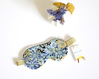 Sleep Mask, travel mask,flowers blue, green, yellow, Relax Mask