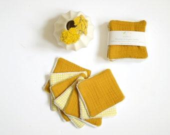 7 reusable make up pads mustard yellow cotton gauze