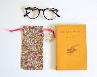 Sunglasses fabric case polka dots duck blue