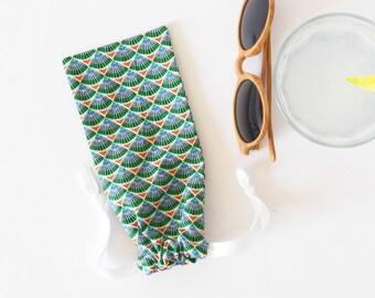 Etui à lunettes multicolore, fête des mères, étui à lunettes, pochette téléphone, pochette étui souple, fête des pères, vert
