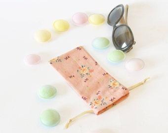 Etui à lunettes fleuri, étui à lunettes souple, rose, orange, fleurs, étui à lunettes, cadeau maîtresse, fête d'anniversaire, fête des mères