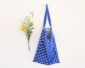 Tote bag, tote bag bleu roi, combi van vw, vichy bleu blanc, sac de plage, sac en tissu, zéro déchet, cadeau pour lui, bleu, fête des pères