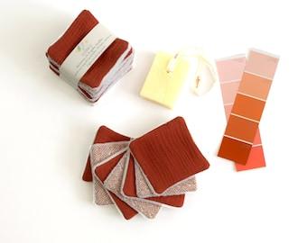 7 reusable make up pads, marsala and geometric pattern