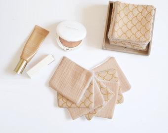 7 reusable make up pads, light pink double gauze