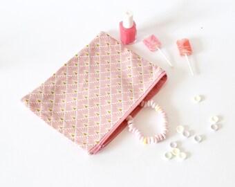 Pochette rose poudré fourre-tout, trousse maquillage, pochette, fête des mères, cadeau maîtresse, pochette, atsem, rose, pour elle
