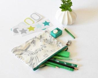 Trousse, pochette vintage, trousse maquillage vintage, vert, pochette voyage vintage, cadeau pour elle , cadeau vintage