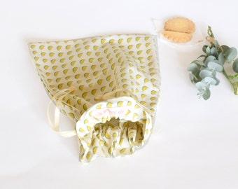 Sac à coulisse, sac à chaussons, pour les petits, sac vacances, sac à jouets, sac à goûter, sac en tissu, jaune, citron, voyage, vacances