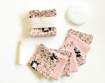 7 reusable make up pads, pandas, double gauze