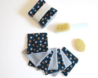 7 light blue reusable make up pads duck blue and dots