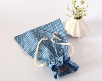 Sac à coulisse, sac à chaussons, pour les petits, sac à jouets, sac à goûter, cadeau voyageur, sac voyage, bleu, cadeau naissance