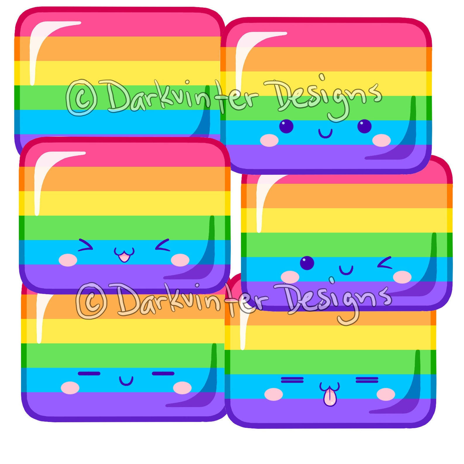 Gay sticker rainbow squiggle